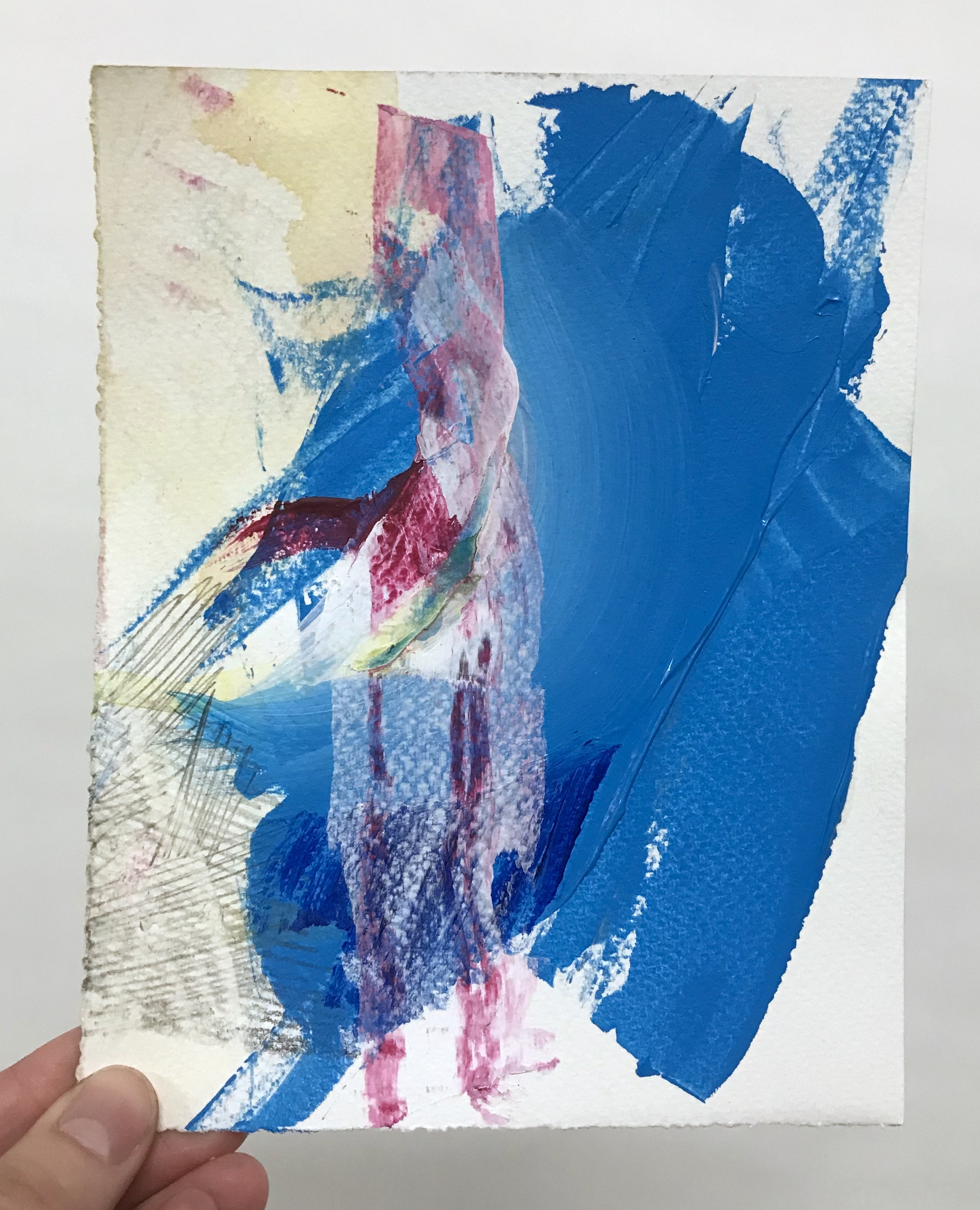 """Lure #13, 5.5""""x7"""", acrylic + graphite on paper, 2017, SOLD"""