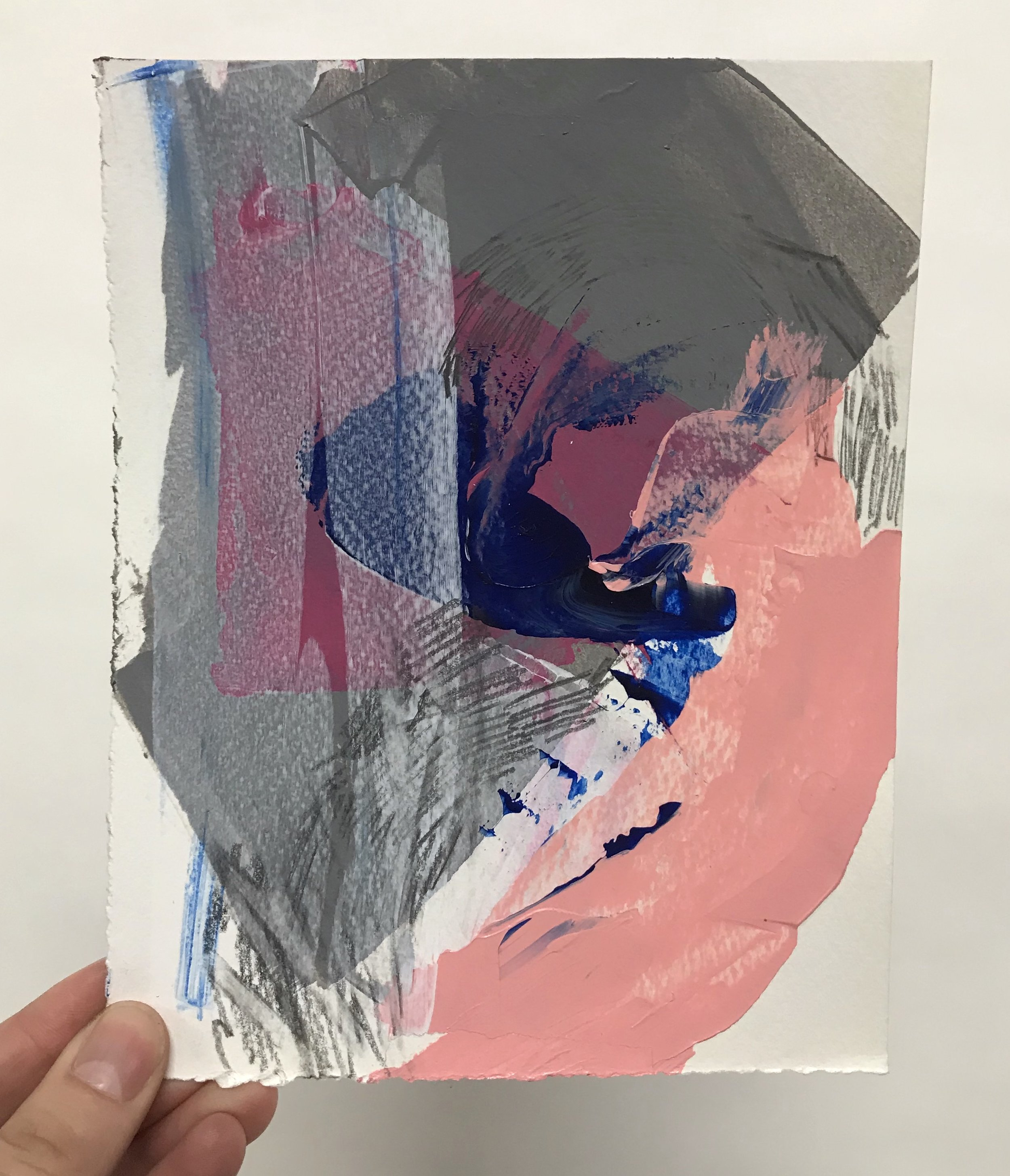 """Lure #14, 5.5""""x7"""", acrylic + graphite on paper, 2017, SOLD"""