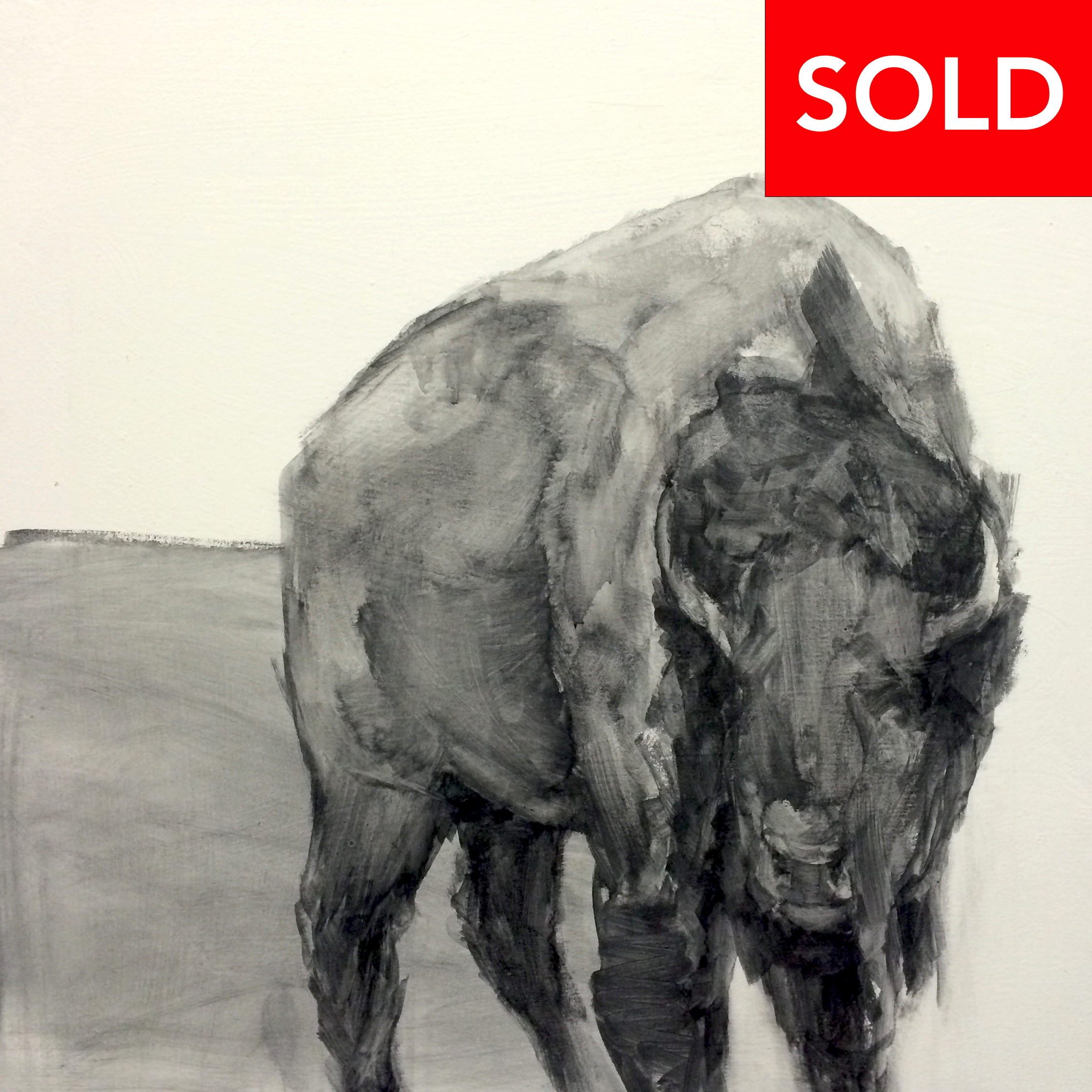 "Brick,  32""x32"", charcoal on canvas, 2014, SOLD"