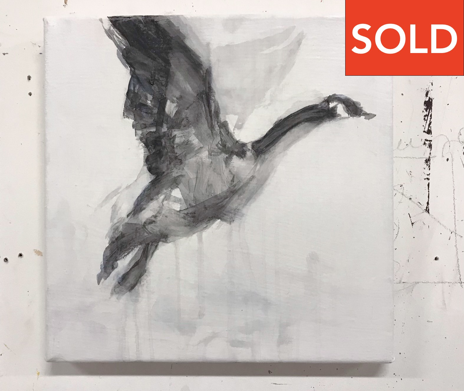 "Geese 4, 12""x12"", charcoal on canvas, 2015, SOLD"
