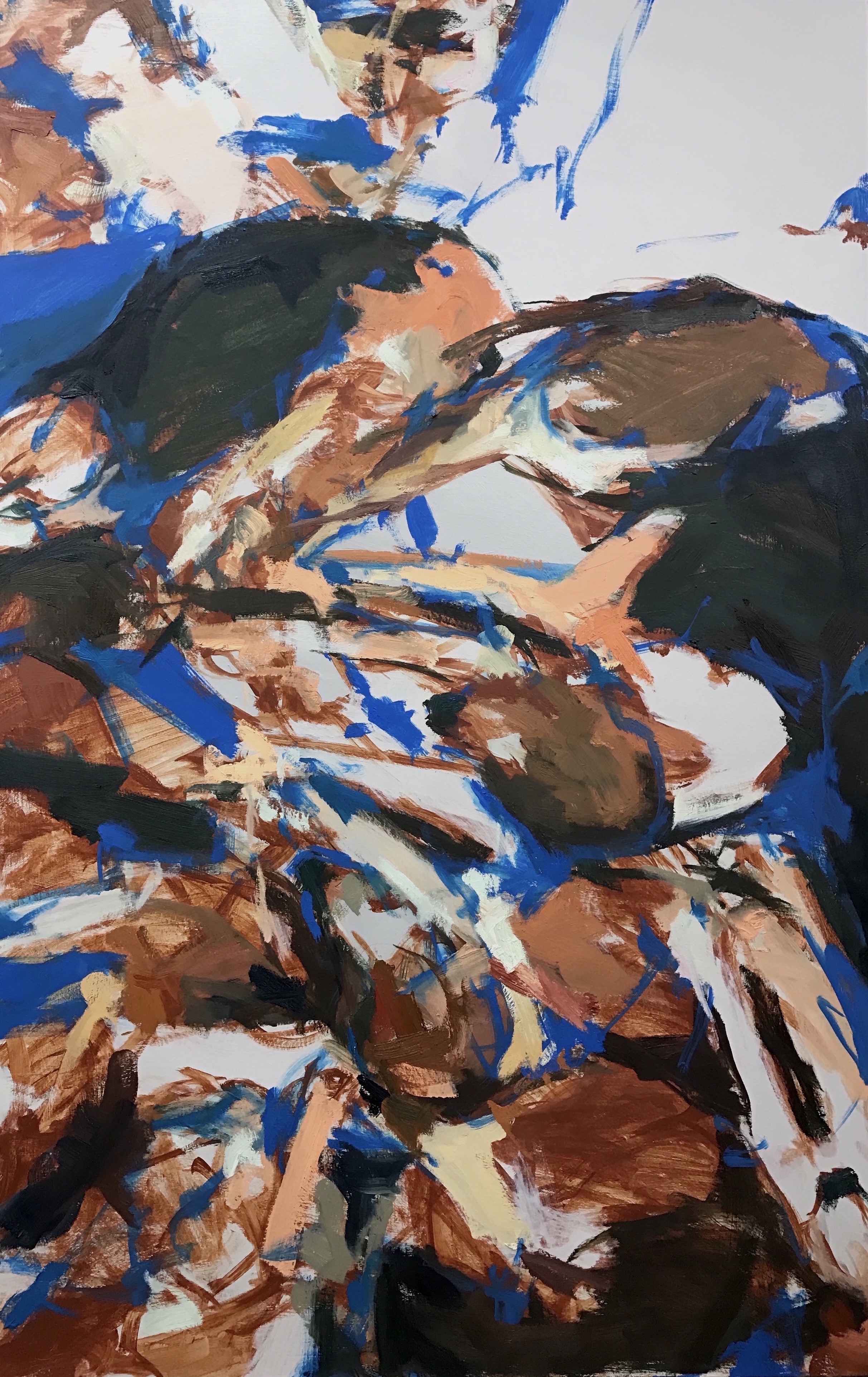"Huddle,  42""x66"", oil on canvas, 2016  Studio Sale price: $4,800"