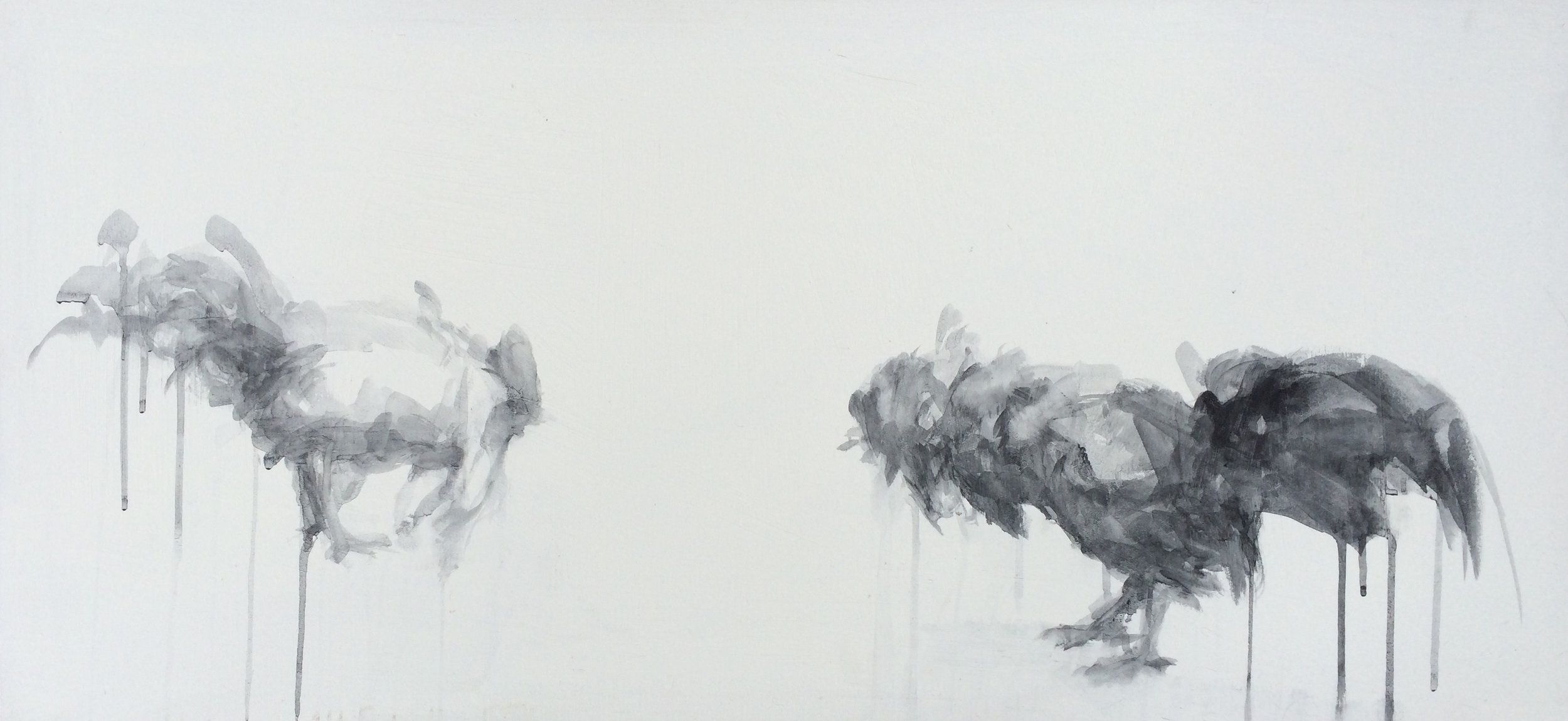 "To First Blood, 38""x18"", charcoal on canvas, 2015  studio sale price: $250"
