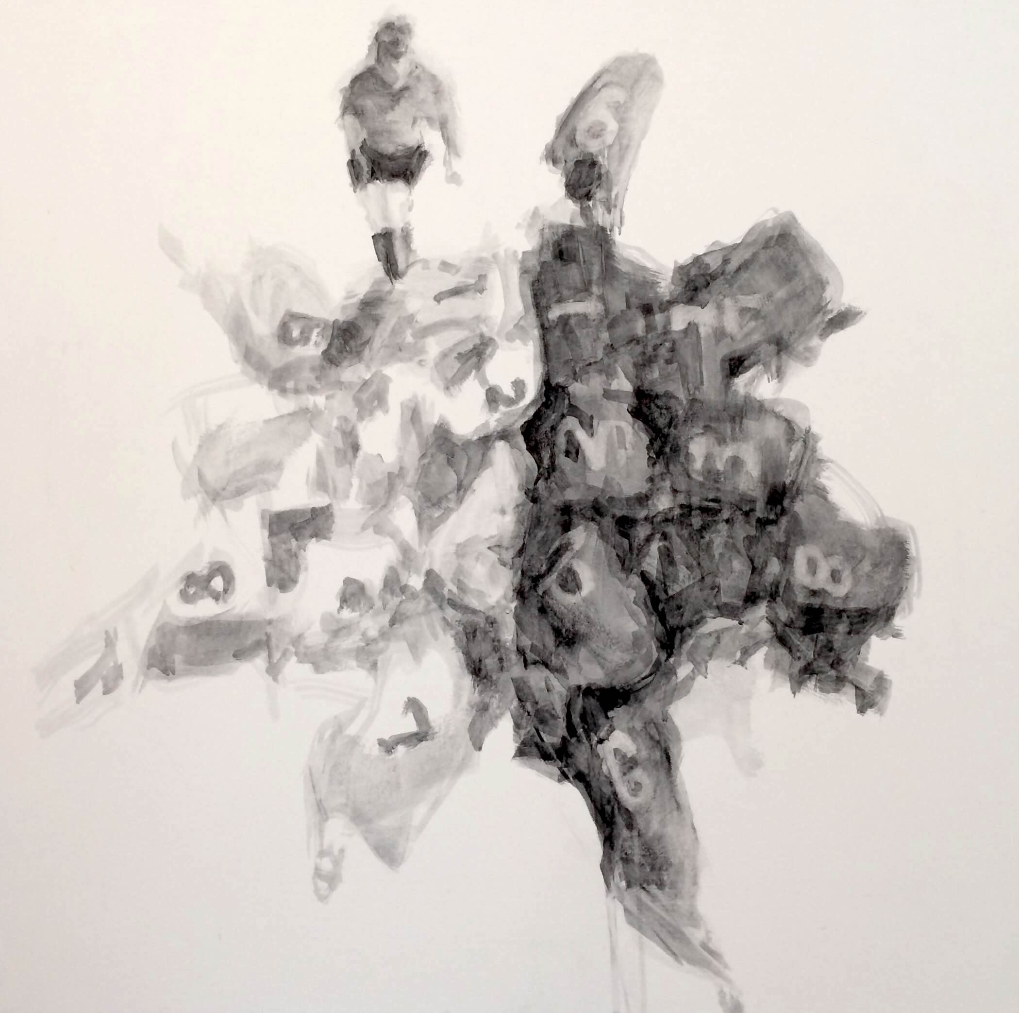 "Pressure, 32""x32"", charcoal on canvas, 2014"