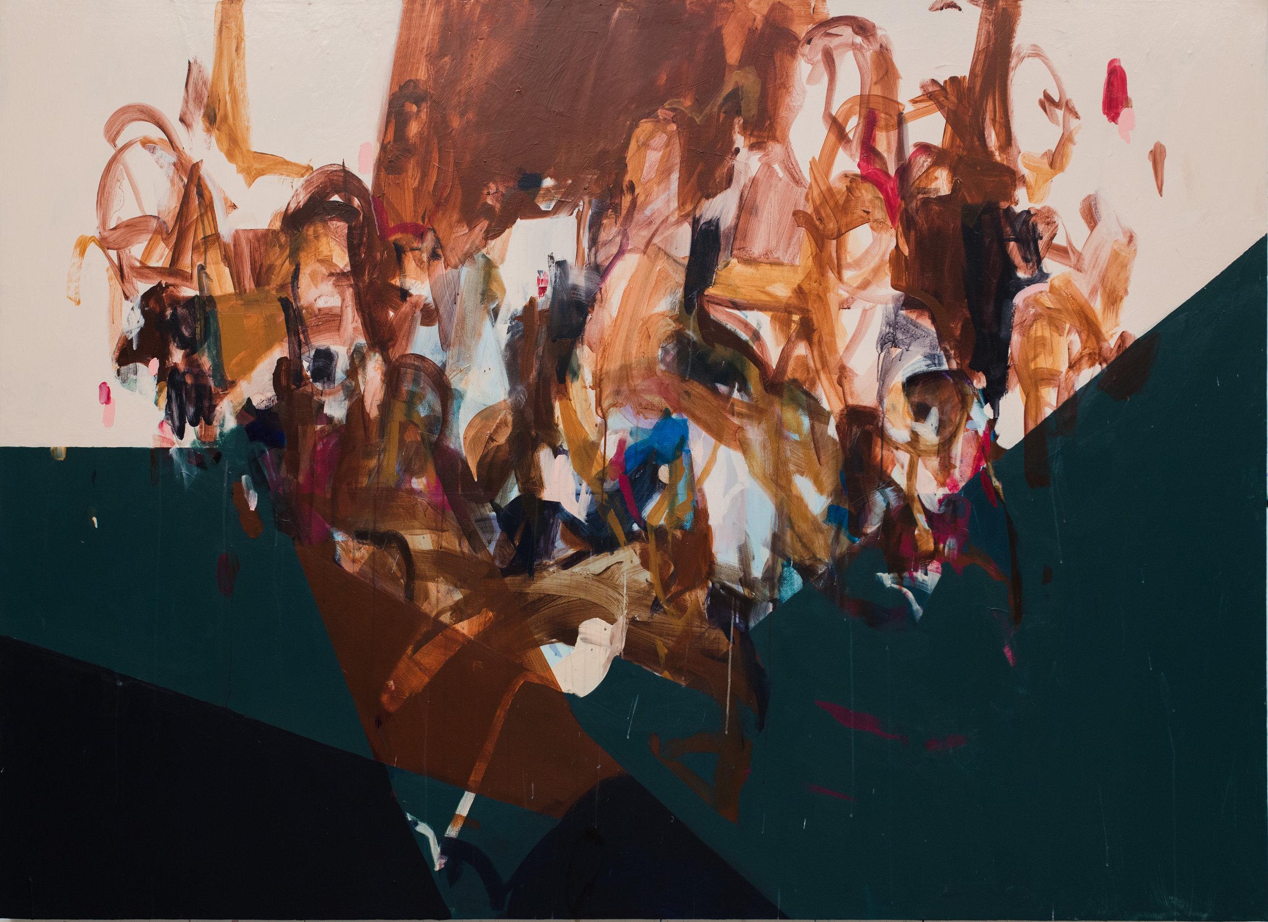 "Like Pulling Teeth  96""x70"", acrylic on canvas, 2018, available"