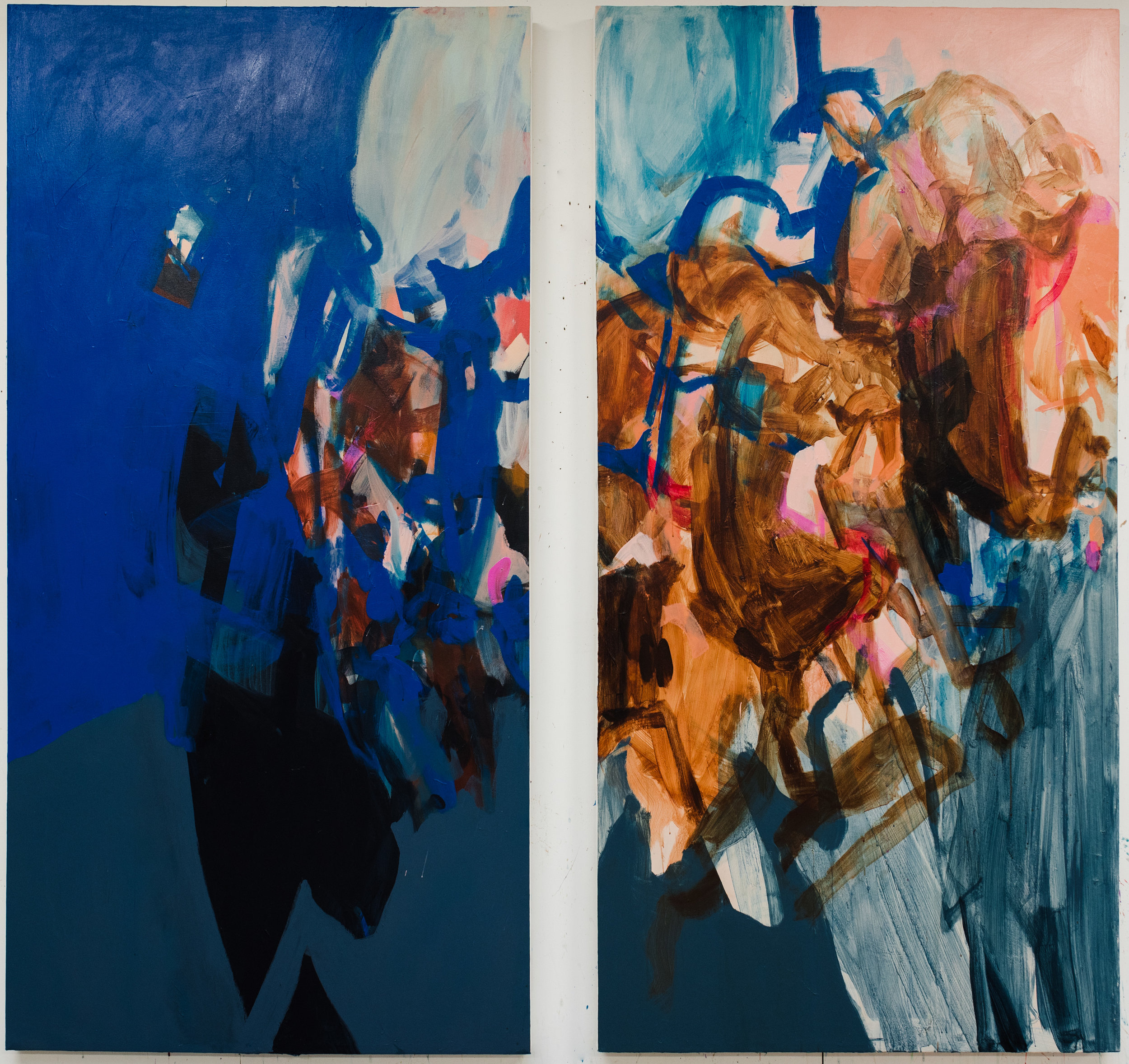 "Tuck and Roll #1-2   42""x84"" each, acrylic on canvas, 2018, available"