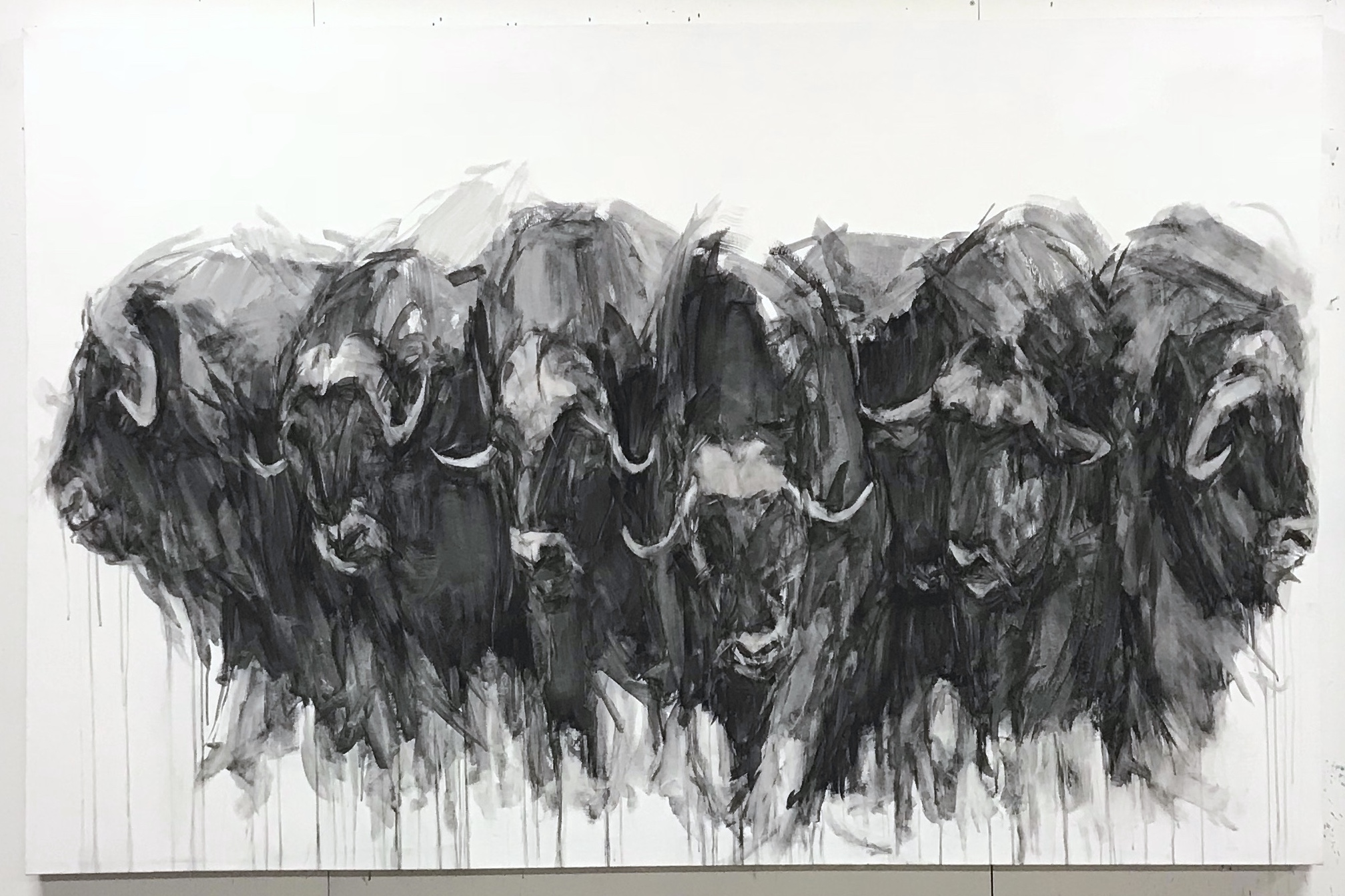 "Heads and Horns,  92""x60"", charcoal on canvas, 2016 / Contact Katie for pricing"