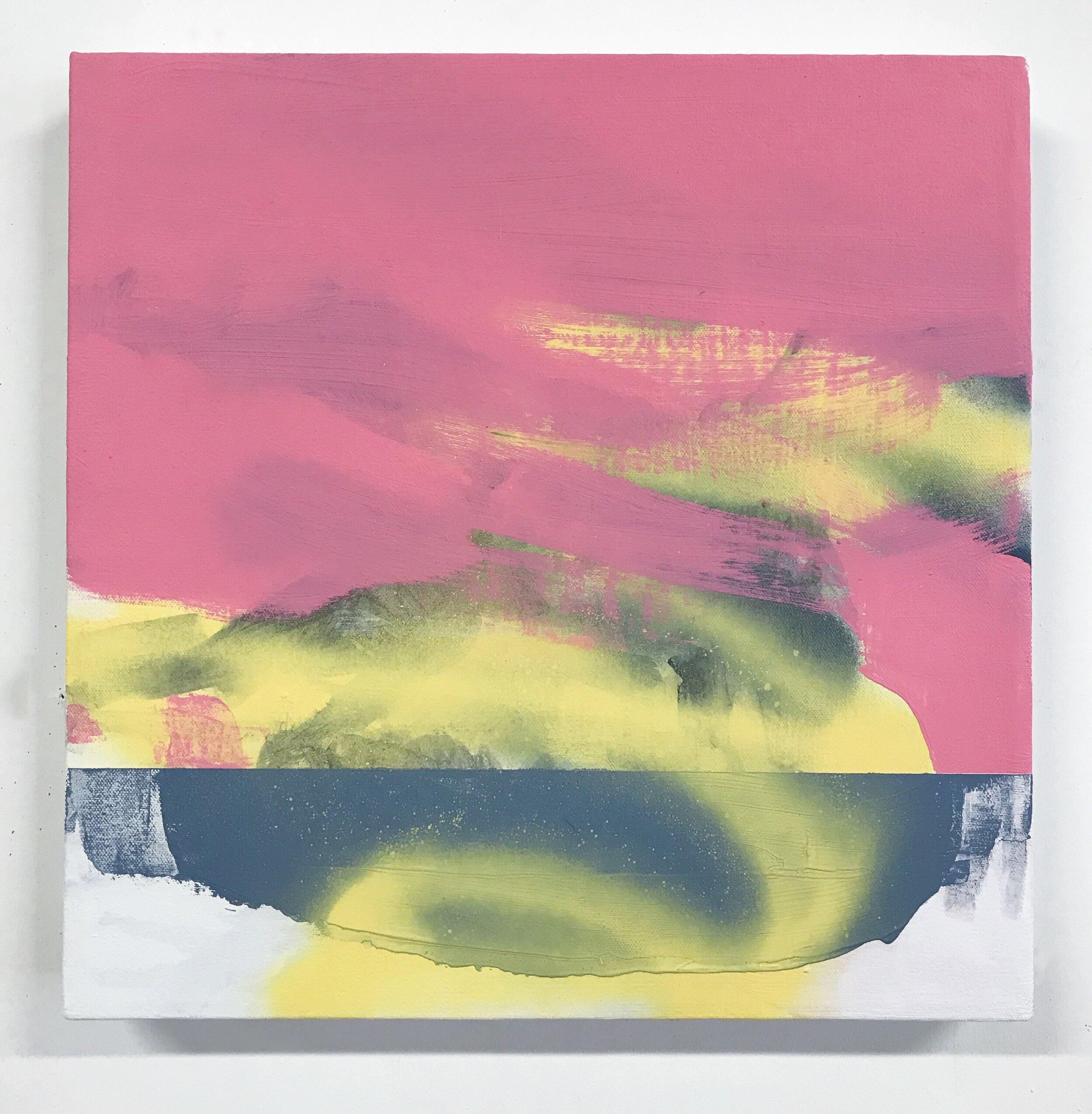 """Like a Duck   14""""x14"""", acrylic & spray paint on canvas, 2019, available"""