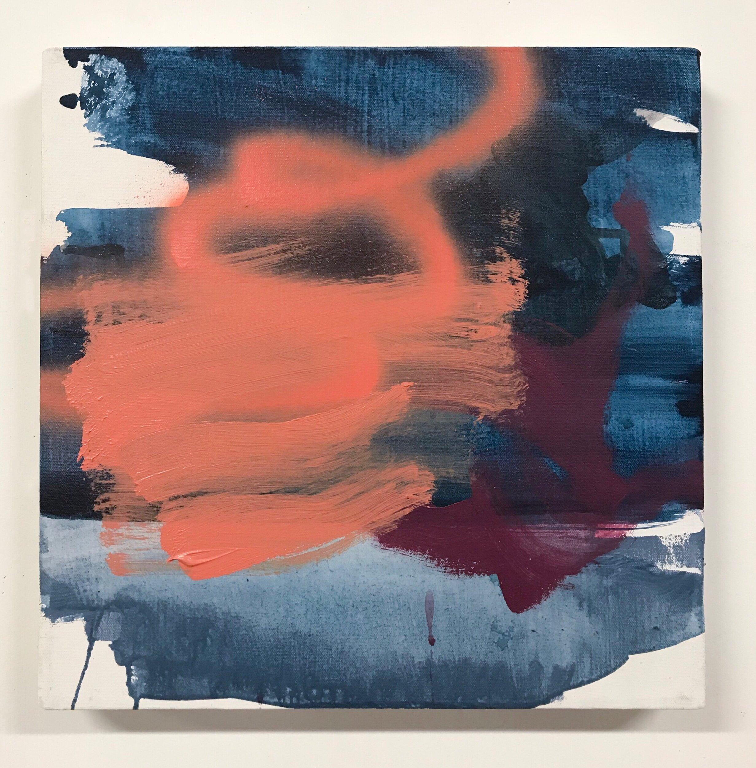 False Start   14x14in, acrylic & spray paint on canvas, 2019, available