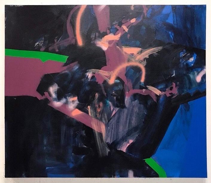 Night Swim   56x48in, acrylic & spray paint on canvas, 2019, available