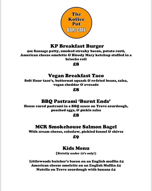 So. Tomorrow's breakfast is hosted by @thekoffeepot 🔥🙌🏼 Here's their menu! They've added a kids section! #stretford