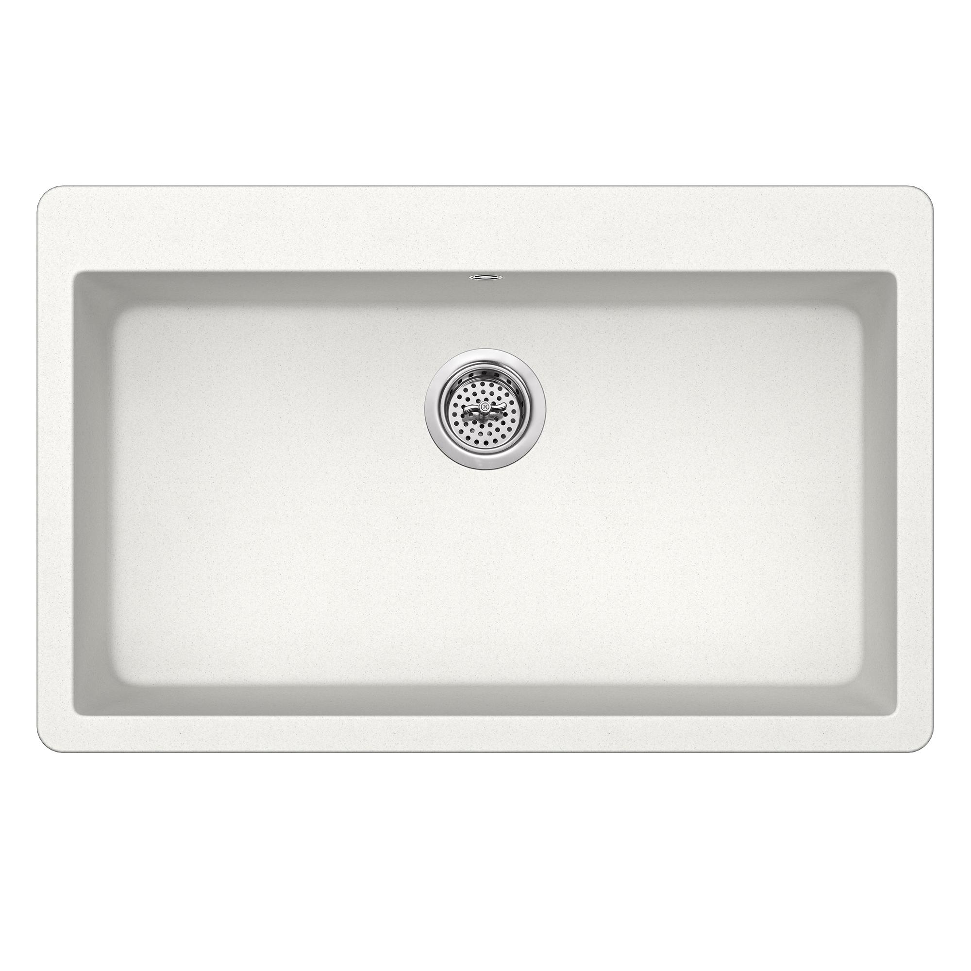 Dual Mount 33 In X 20 7 8 Quartz Kitchen Sink Alpine White Cahaba Designs