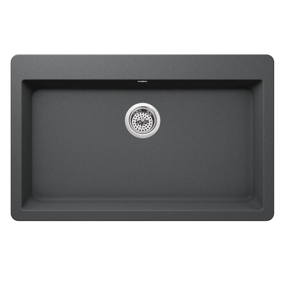 Dual Mount 33 in. x 20-7/8 in. Quartz Kitchen Sink in Gray — Cahaba Designs