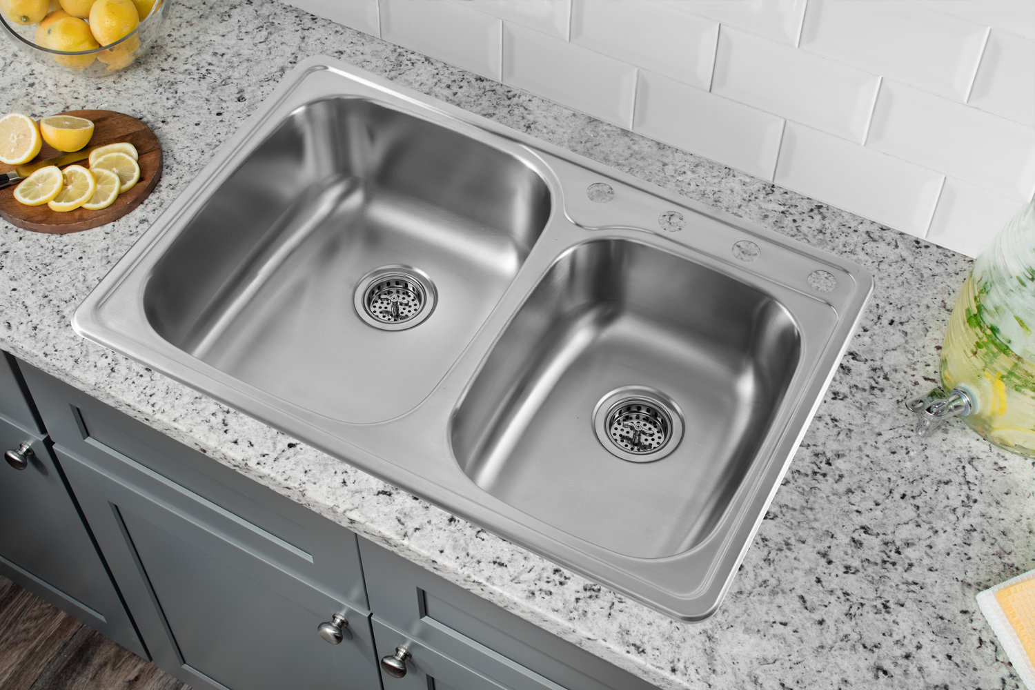 Drop In 33 1 8 In 60 40 Bowl 20 Ga Stainless Steel Kitchen Sink