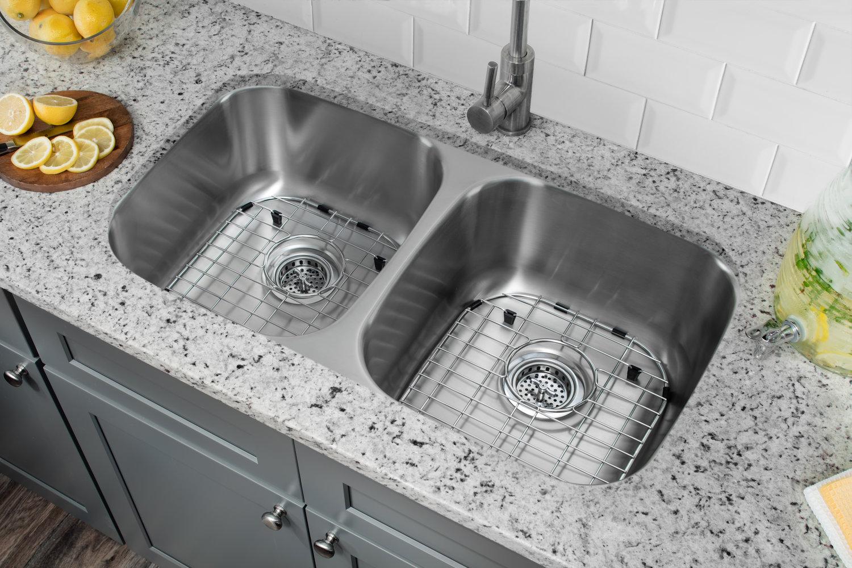 Undermount 32 1 4 In 50 50 Bowl 16 Ga Stainless Steel Kitchen Sink Cahaba Designs