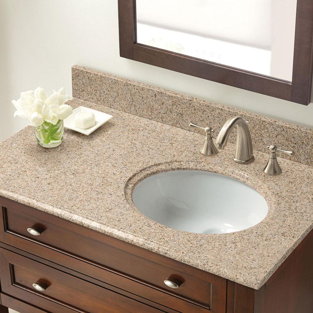 37 In X 22 In Beige Granite Right Offset Basin Vanity Top 8 In Faucet Spread Cahaba Designs