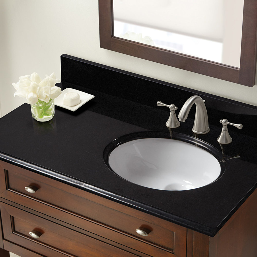 37 In X 22 In Black Granite Right Offset Basin Vanity Top 8 In Spread Cahaba Designs