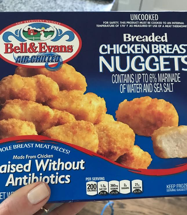 Bell & Evans Breaded Chicken Breast Nuggets - 4.5* A lot of people are surprised when I say these aren't organic. While Bell & Evans sells organic chicken nuggets, these nuggets (which seem to be in many stores) are not. They are raised without antibiotics, but are not organic. Otherwise the ingredients in these are almost identical to the Applegate Chicken Strips. These are lower in sodium, but higher in fat. While these taste good and are a good option for a frozen dinner, every child thought the Applegate tasted better. However, these are less expensive than the Applegate.