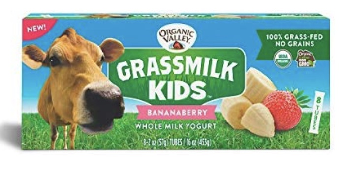 Organic Valley Grassmilk Kids - The trend towards grass fed cows is not going away and for good reason. Research shows that dairy from cows fed grass, rather than grains, has healthier fats (like CLA) which has been linked to a lower level of many diseases. So, having grass-fed dairy products made just for kids is a win. These have a good ingredient list and 6 grams sugar per 2 oz tube. While this is slightly higher than some of the other tubes, the benefit of grass-feed definitely outweighs the slightly higher sugar in these.