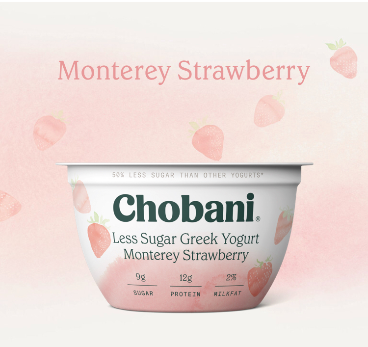 Chobani Less Sugar Greek Yogurt Monterey Strawberry - Greek yogurt is a great way to get extra protein in your child's diet. This new version of Chobani is flavored with strawberries, has dramatically less sugar and no artificial flavors. At 9 grams sugar for 5+ oz, you can feel good about serving this to your child (remember, this is larger than many other yogurts listed here which is why it has more sugar)