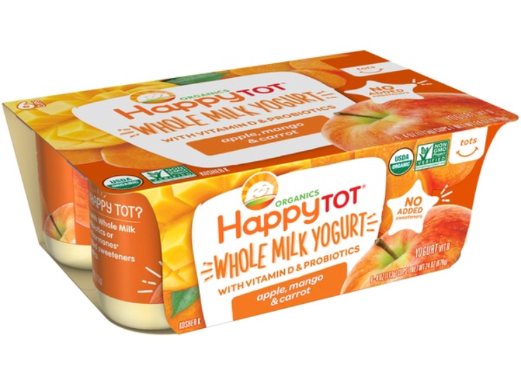 HappyTot Whole Milk Organic Yogurt - Because these are sweetened with fruit purees, they are still sweet but without any added sugar. With 7- 8 grams sugar per yogurt, these are a good choice for kids. The only real downside is that they are not that easy to find.