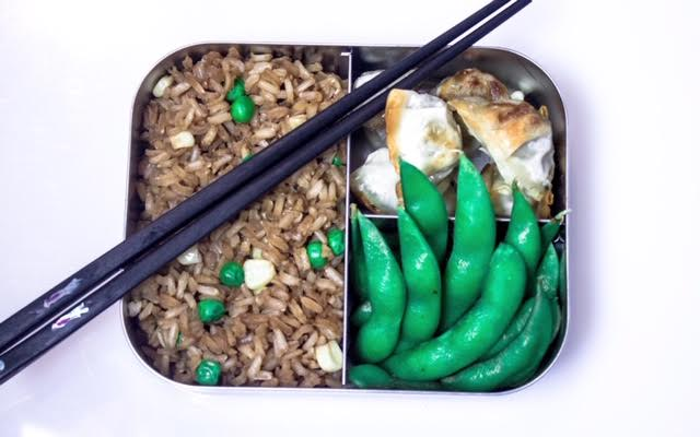 Healthy Fried Rice - (made with brown rice, peas and corn), chicken wontons (you can buy frozen ones at Trader Joe's, Whole Foods, Costco), edamame