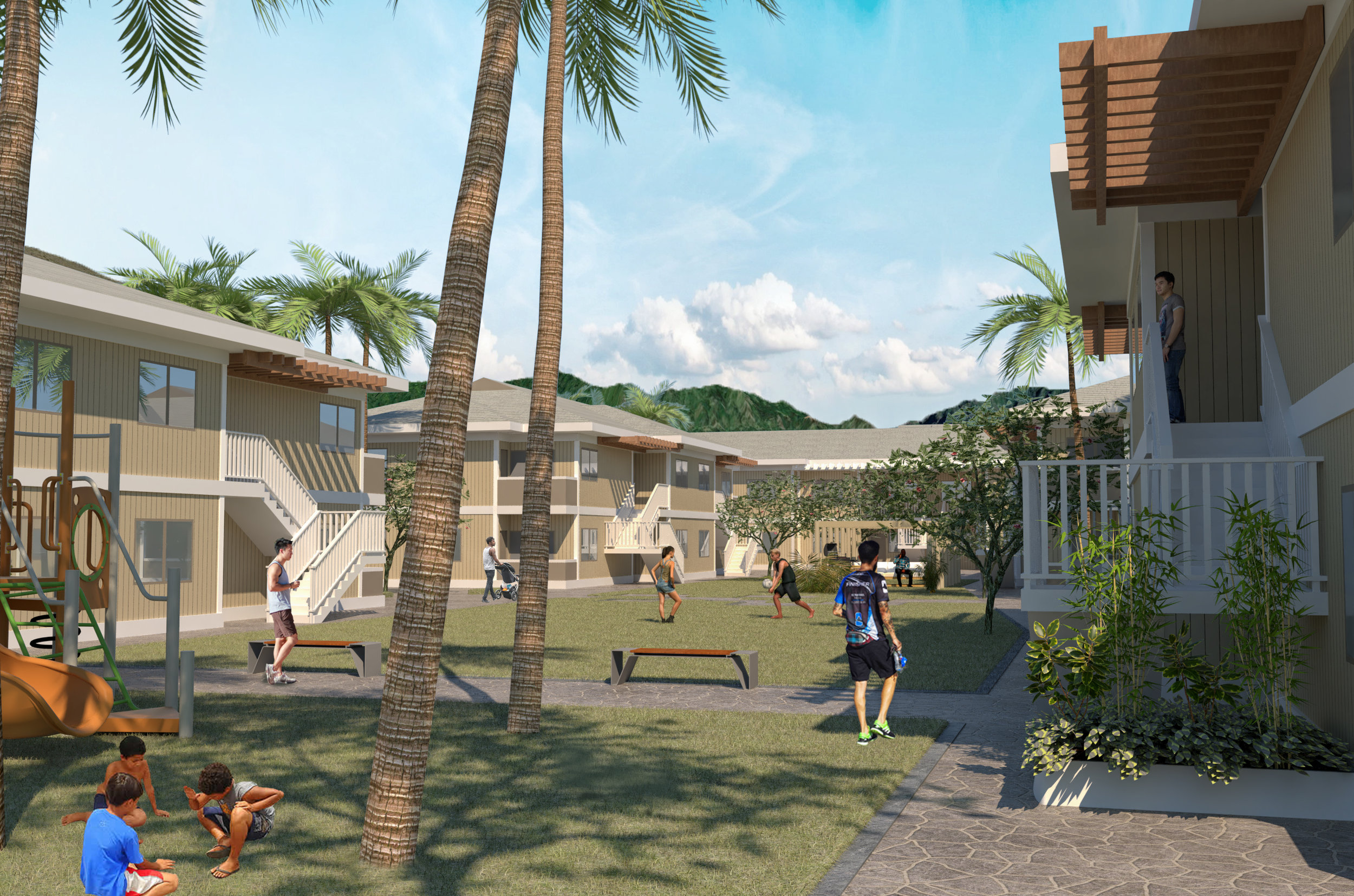 An artist's concept of the 52-unit Hale Makana O Maili affordable housing project.