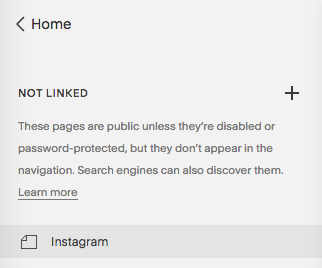 The NOT LINKED section in Squarespace Pages menu