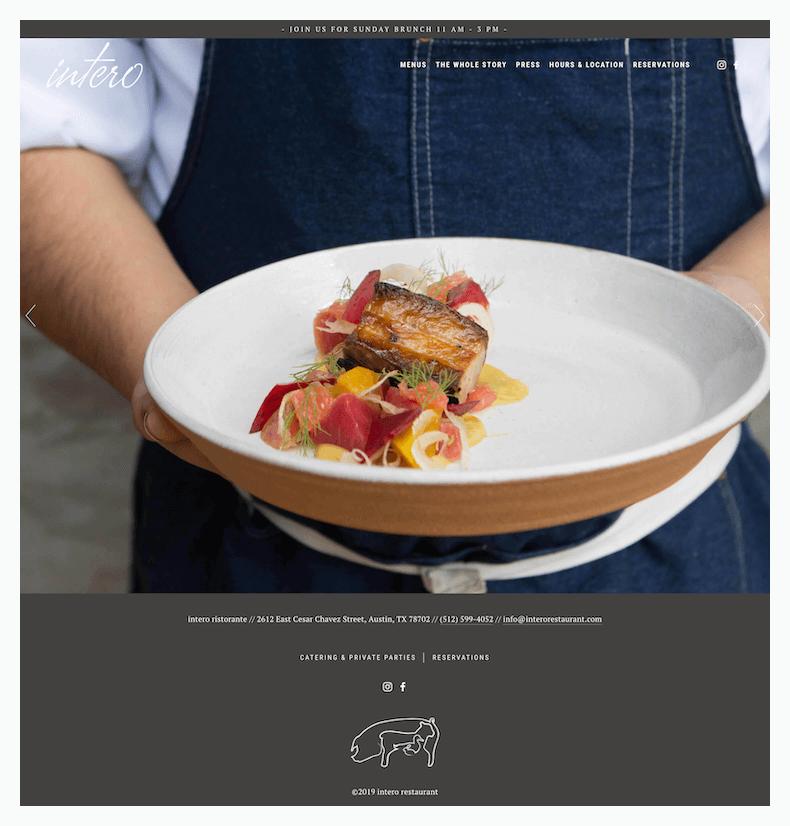 intero restaurant website design homepage