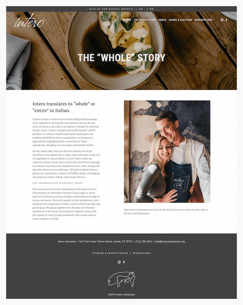 intero restaurant website design about page