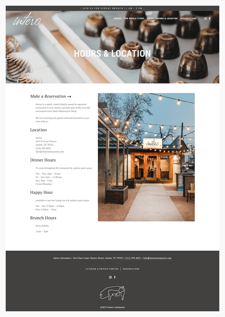 intero restaurant website design hours and location page