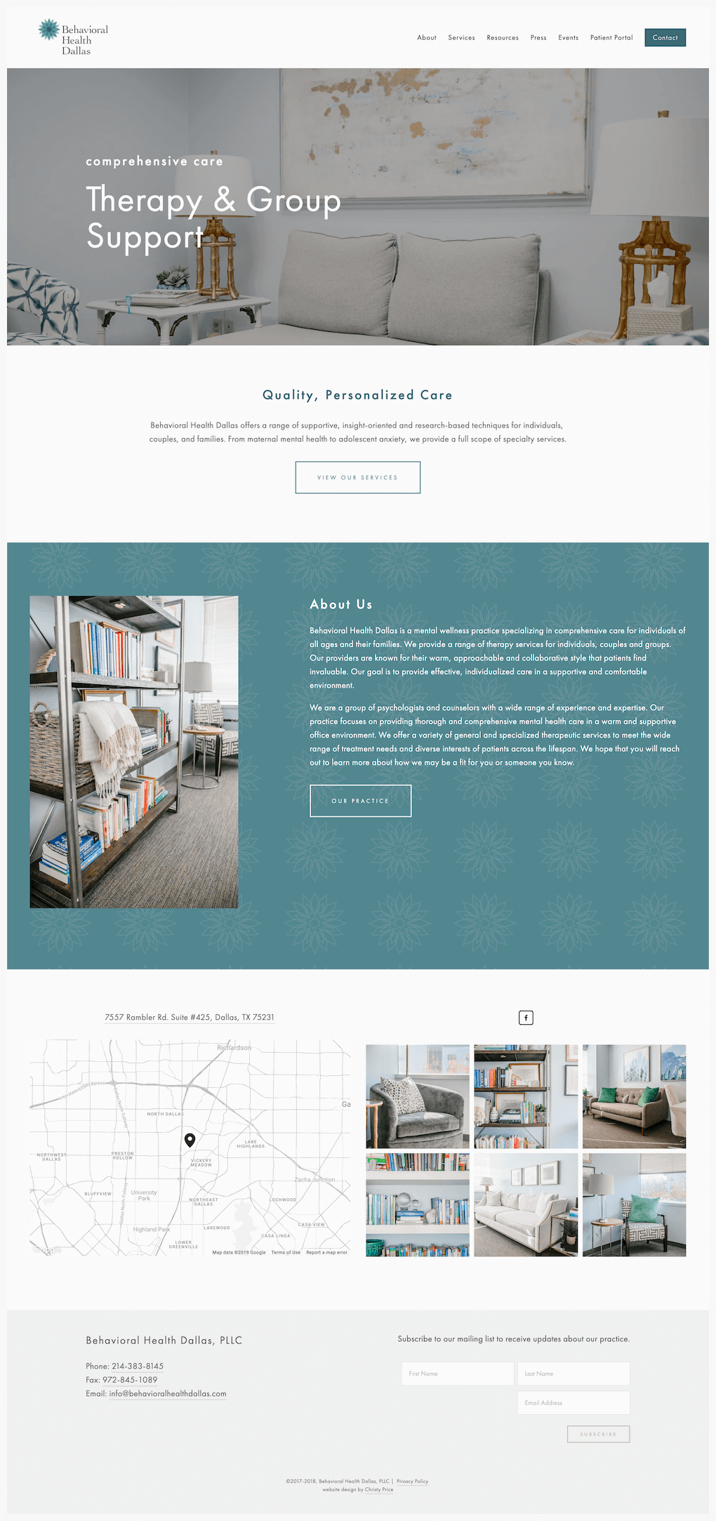 therapist Squarespace website design homepage