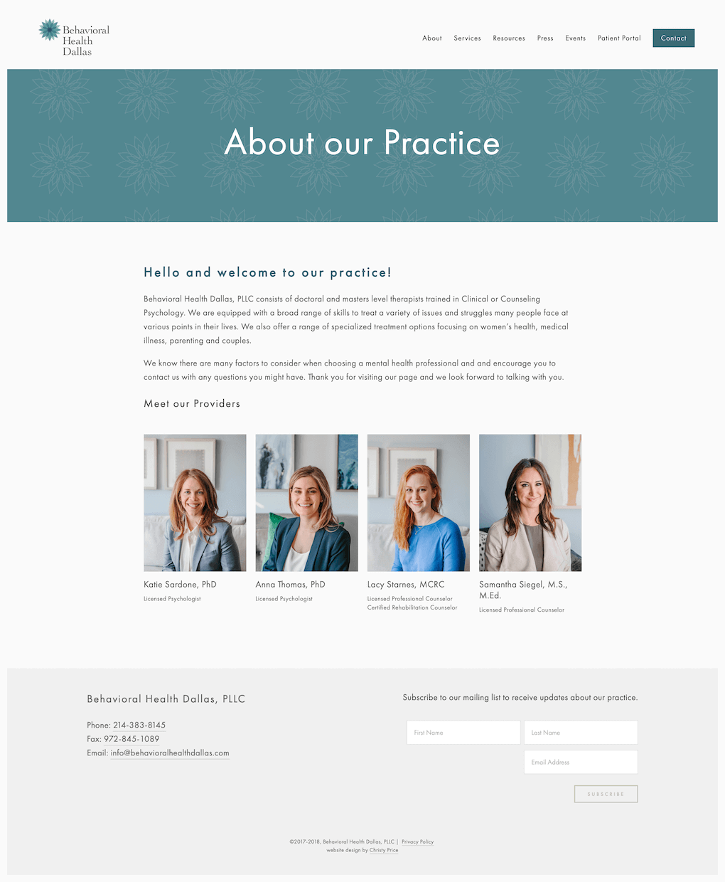 Squarespace website for Dallas therapist office