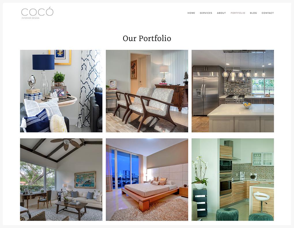 interior design Squarespace website portfolio