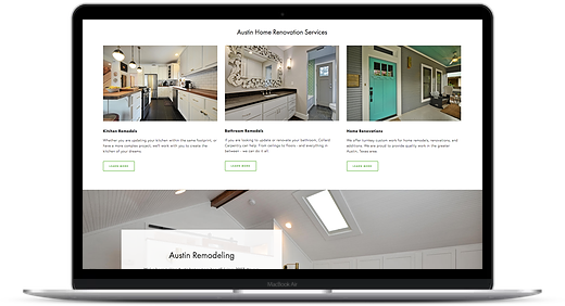 home renovation website in Squarespace