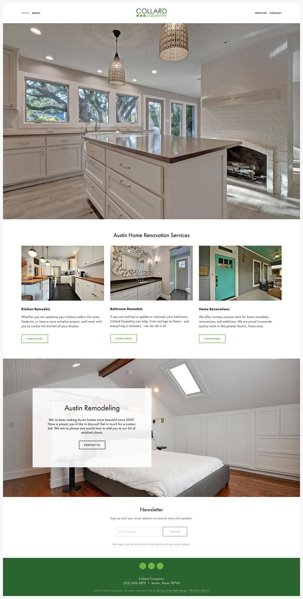 carpentry Squarespace website homepage