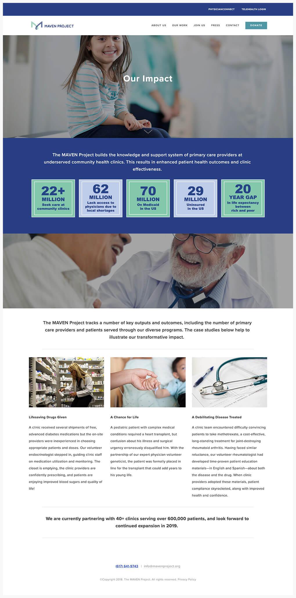 nonprofit Squarespace website homepage