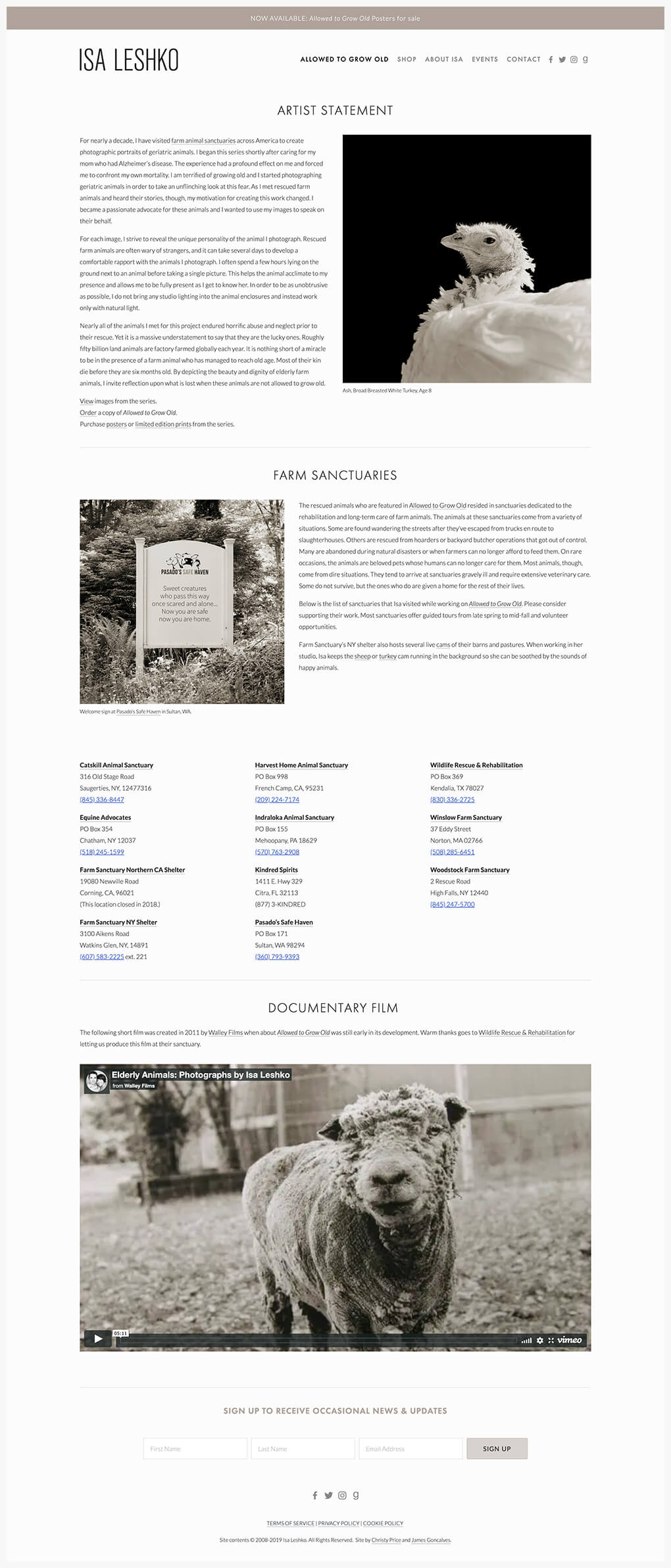 author Squarespace website interior page