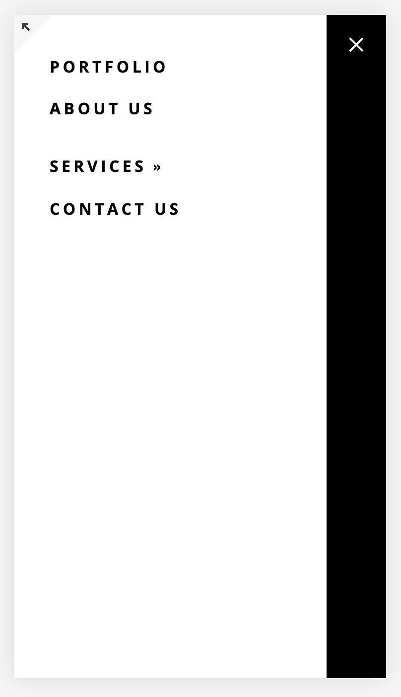 gap between primary and secondary navigation on Squarespace mobile menu