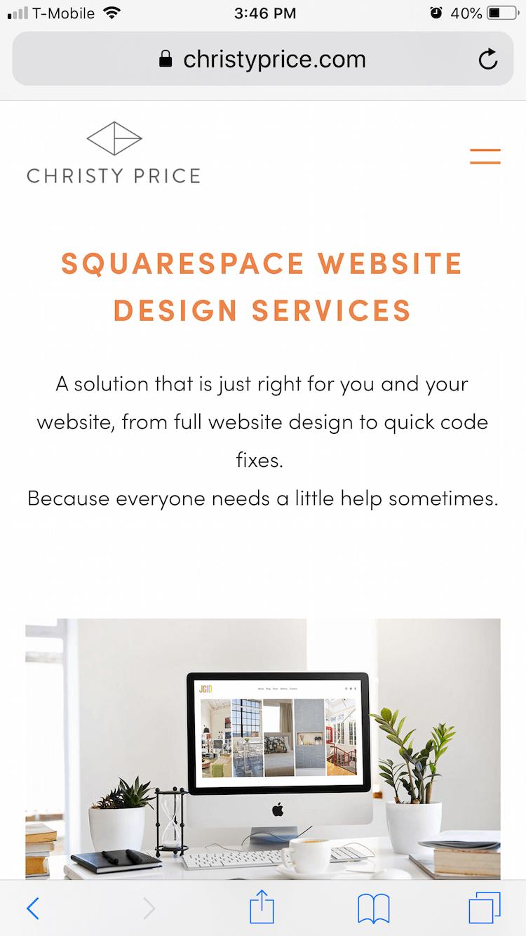 Original mobile view of my Squarespace website with no extra padding