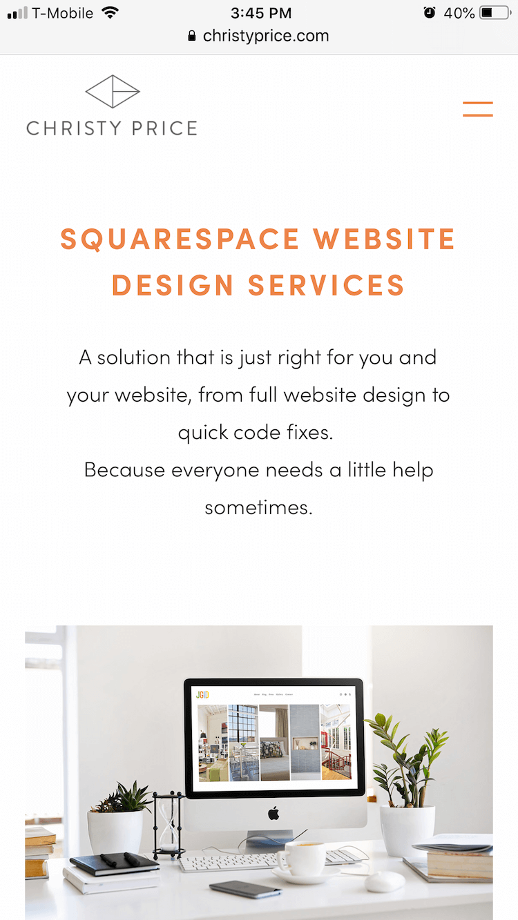 Mobile view on Squarespace with extra padding for site content