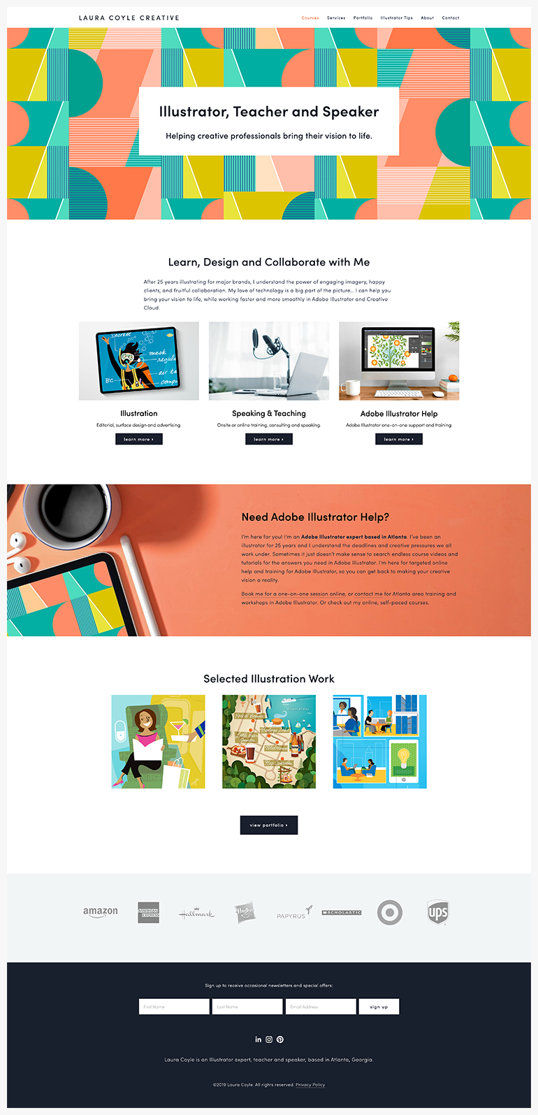 Square Space homepage design, Brine template family