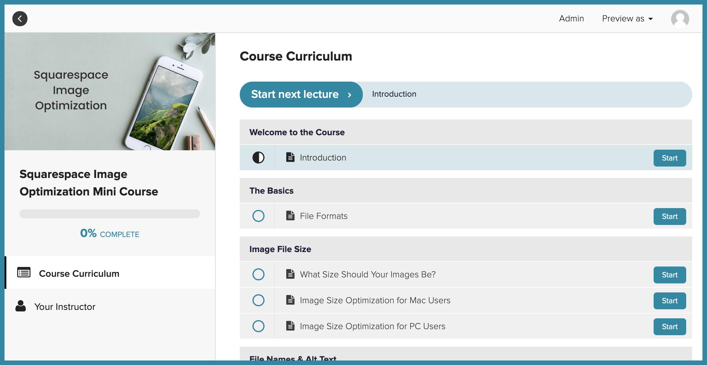 Course platform for Squarespace course