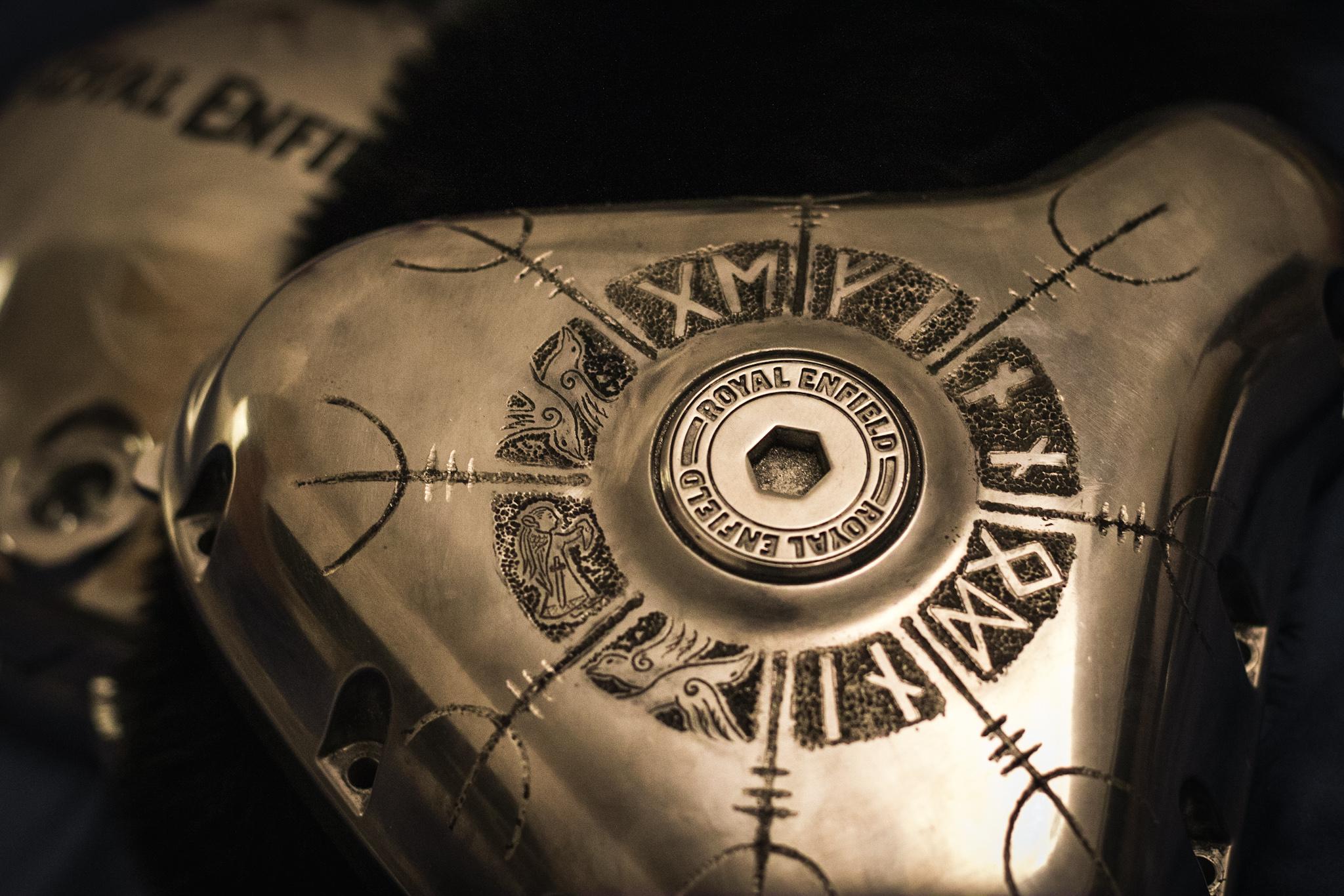 Royal Enfield Gungnir runic engravings