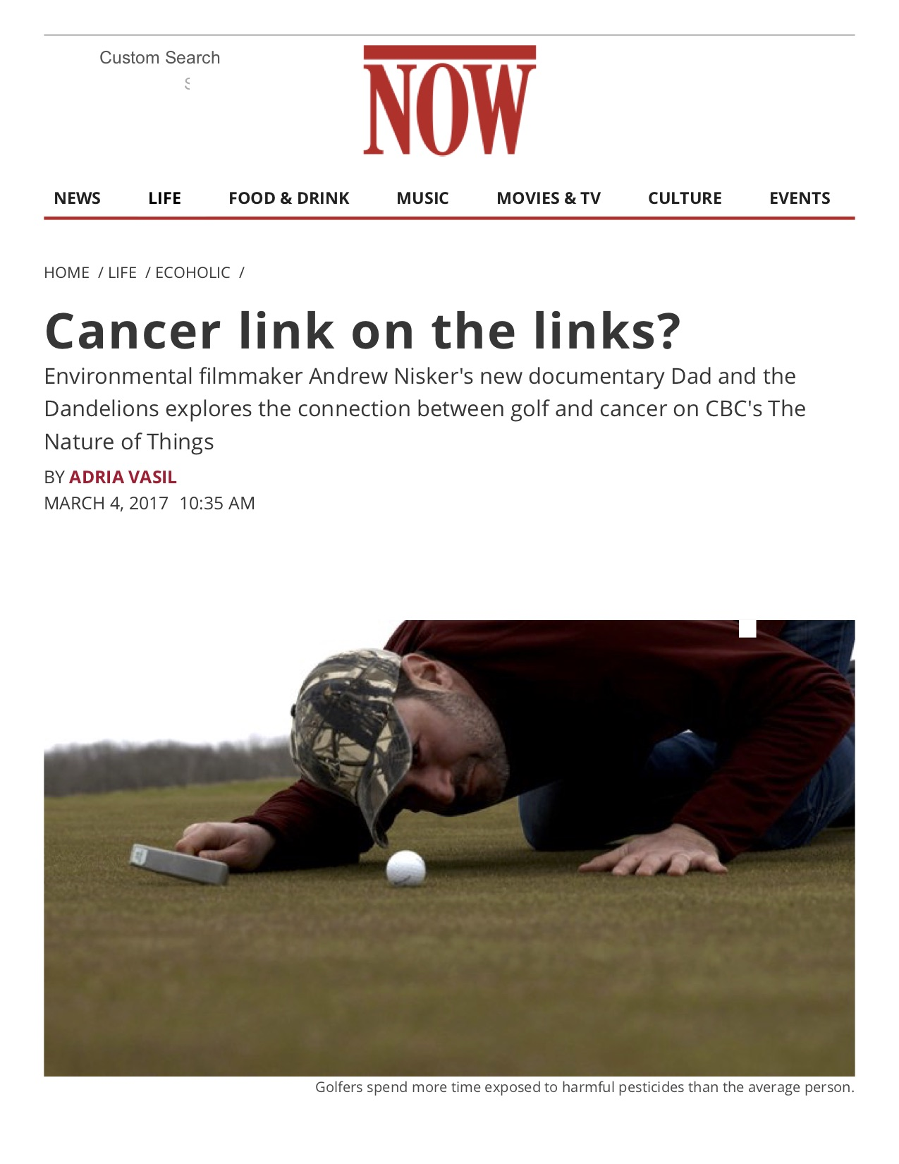 Cancer link on the links? - NOW Magazine.jpg