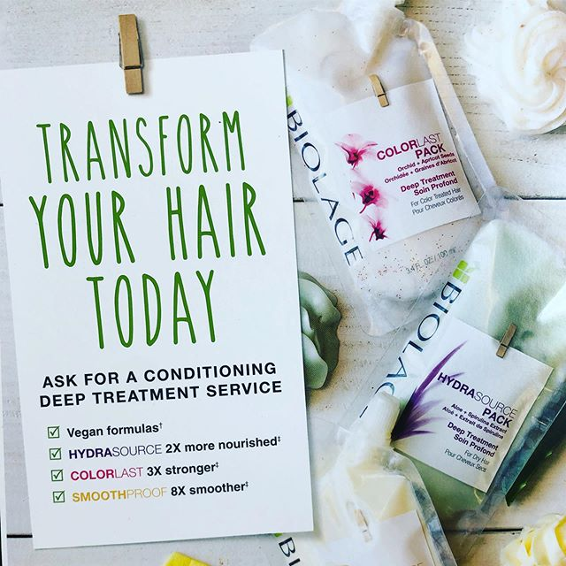 Does your hair need a spring boost?  Come in today for an amazing conditioning treatment catered to your needs!  #calltoday📞 #biolage #matrixcolor #healthyhair #healthyshinyhair