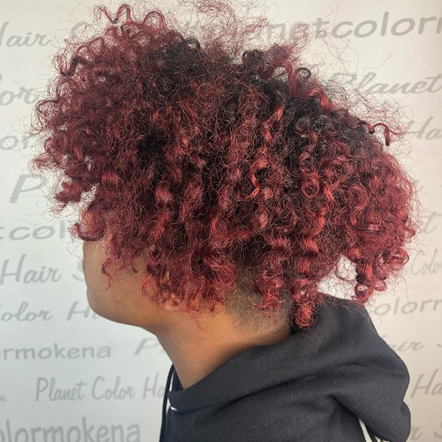 Enhance your fabulous curly hair with some amazing color! -color by Nick  #afrocolor #afrocolors #curlyhair #redhair