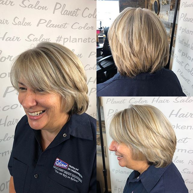 Thinking about a change?  This client went from being a beautiful brunette to a bright blond!  Cut and Color by Gen  #blondehair #transformationfriday #ighair #ashyblonde #hairmakeover