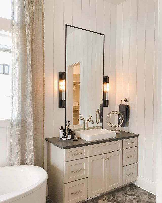 We are currently designing 2️⃣ bathrooms and want your opinion on style. Swipe ⬅️ to see the different bathroom styles and comment the number of the one you like below!⠀ ⠀ We can't decide between the modern elegance, super glam, or rustic farmhouse.. definitely hunting for something that is timeless. Let's us know which look you like best! ⠀ ⠀ ☎️: 909.447.9473⠀ 📧: hello@dianaandariana.com⠀ 💻: DianaAndAriana.com