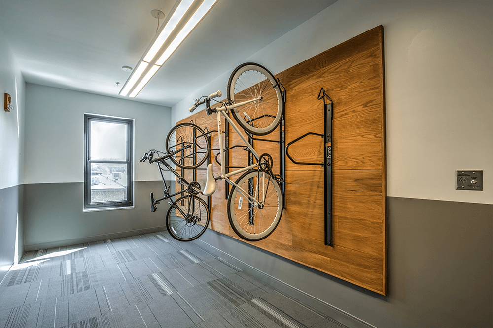 Market City Center has many features that are energy efficient such as bike storage for residents