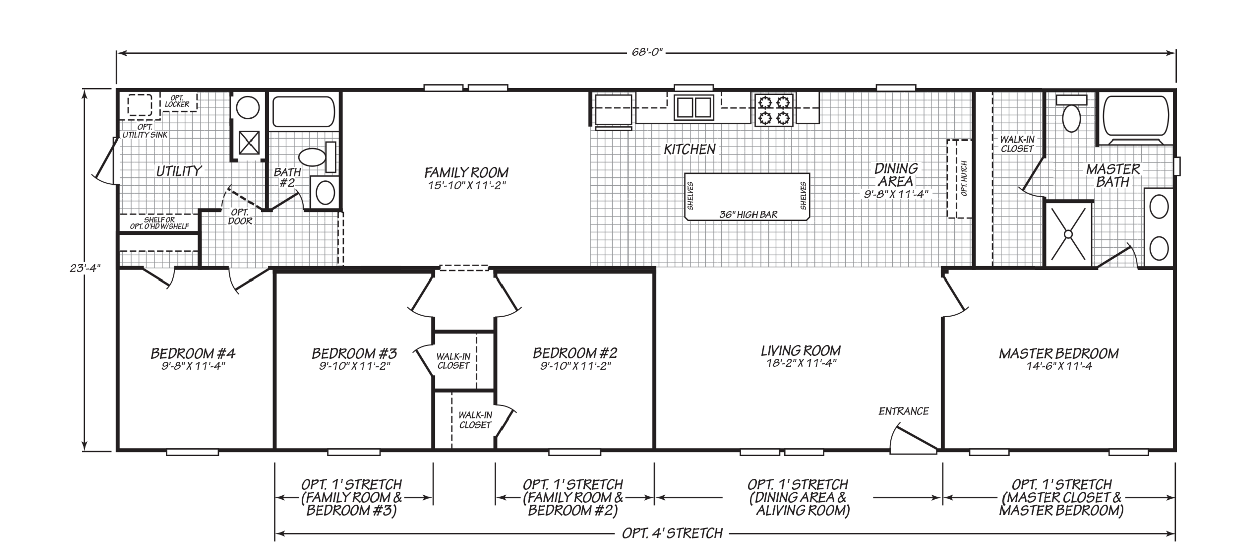 The floor-plan of Cavalier Quarters, a four bedroom manufactured double-wide home.